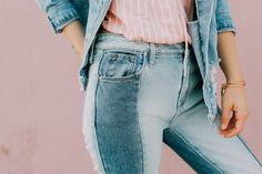 Today I am sharing my summer OOTD! I am loving these patch-y style of jeans lately! These ones are so cute paired with my denim jacket and striped tank! Spring Summer Fashion, Summer Ootd, Spring Style, Summer Outfit, All Jeans, Glamour, Double Denim, Look Cool, Chic