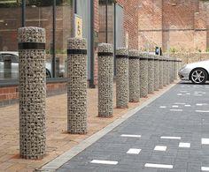 Furnitubes International: Gabion bollards, Marks & Spencer Eco Store, Sheffield 1 of 6 Landscape Elements, Urban Landscape, Landscape Design, Garden Design, Gabion Fence, Gabion Wall, Fences, Urban Furniture, Street Furniture