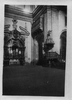 Interior da igrexa do mosteiro beneditino de San Xiao e Santa Basilisa. Samos, Lugo, ca. 1900. Xelatina de prata ao clorobromuro. 18 x 13 cm.