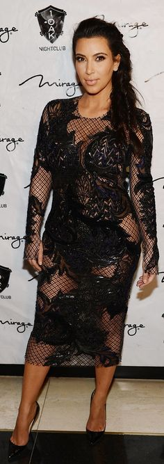 Kim Kardashian Revealed Her Panties in a Sheer Embroidered Bodycon Number During Her First Pregnancy