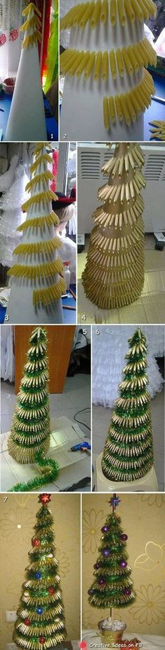 ideas pasta art projects christmas trees for 2019 Christmas Tree Dyi, Alternative Christmas Tree, Christmas Gift Decorations, Christmas Makes, Christmas Bulbs, Christmas Crafts, Holiday Decor, Christmas Ideas, Fun Projects For Kids