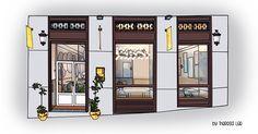 Verona, Facade, Divider, Illustration, Madrid, Room, Watercolor, Furniture, Store