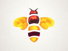 Hand painted watercolor bee icon for Madhava's new Organic Honey packaging. By Steve Bullock