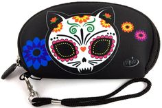 Evilkid Gato Muerto Sugar Skull Cat Neoprene Wallet Stash Carry-all Pouch Sugar Skull Cat, Deep Art, Pouch, Wallet, Gift Guide, Drawstring Backpack, Sunglasses Case, Best Gifts, Tote Bag