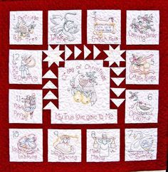 12 Days Of Christmas Quilt & Ornaments Quilt Pattern Mini Quilt Patterns, Christmas Quilt Patterns, Christmas Fabric, Christmas Crafts, Christmas Holiday, Christmas Ideas, Christmas Blocks, Embroidered Quilts, Quilted Ornaments