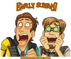 Two sissy nerds freaking out on your blog. Art © ZombiDJ