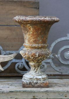 urn with perfect patina waiting to be filled with pretty plants. Natural Living, Olive Jar, Garden Floor, Urn Planters, Garden Urns, French Country Style, Red Bricks, Garden Ornaments, French Decor