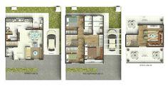 Plantas humanizadas do pavimento térreo, do pavimento superior e do ático com terraço descoberto: sobrado 02 e 03 (simétrico)