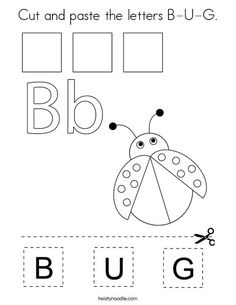 Cut and paste the letters B-U-G Coloring Page - Twisty Noodle Preschool Letter Crafts, Preschool Songs, Letter Activities, Children Activities, Letter A Crafts, Letter B, Insect Coloring Pages, Animal Coloring Pages, Body Parts For Kids