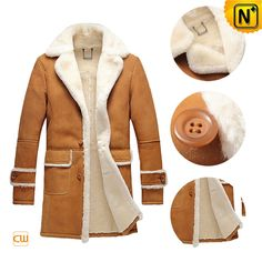 Warm yet good looking leather winter sheepskin coats for men are best choice for outdoor clothing. Thick shearling sheepskin lining, soft yet durable suede feel sheep leather exterior consists of this nice sheepskin mens winter coat!