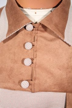 Size XL Tan Fine Houndstooth Pullover Shirt with Faux Suede Brown Yokes. See more or buy it at: http://www.reprovintageclothing.com/clothing/clothing_men/cm0266.html