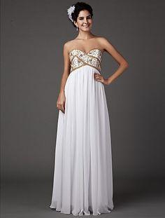 Sheath/Column Sweetheart Strapless Floor-length Chiffon Wedding Dress Easebuy! Free Measurement!