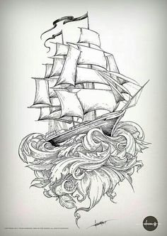 Beautiful tallship tattoo design