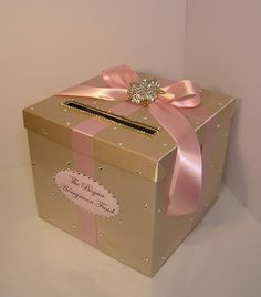 Wedding /Quinceañera/Sweet 16 Card Box Champagne and Blush pink/light pink Gift Card Box Money Box Holder-Customize your color – quinceanera Quince Decorations, Quinceanera Decorations, Quinceanera Party, Wedding Decorations, Sweet 16 Decorations, Quinceanera Dresses, Birthday Box, Sweet 16 Birthday, 15th Birthday