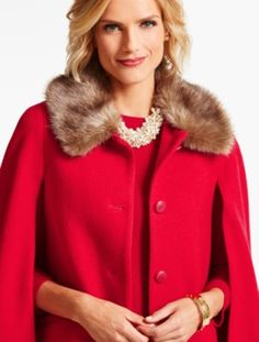 Faux Fur-Collar Cape - Talbots
