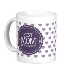 Best Mom in the World Violet Hearts and Circle Mug