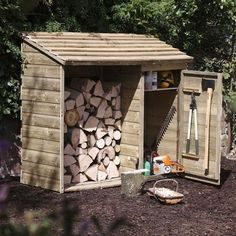 This Forest Garden Wooden Log Store and Tool Storage Shed features an innovative design that allows you to keep your fire wood and relevant tools all in one convenient place, neatly and safely secured. This strong and sturdy wooden storage shed offers am Garden Tool Shed, Garden Tool Storage, Shed Storage, Garden Sheds, Extra Storage, Firewood Shed, Firewood Storage, Log Shed, Wood Shed Plans