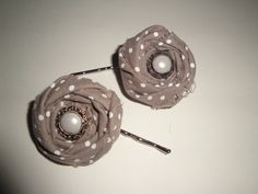 Grey and white polka dot fabric rosette with pearl embellishment on bobby pin for only $6.50 each!