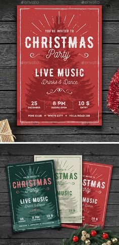 Buy Rustic Christmas Party Flyer by GraphicGoods on GraphicRiver. This vintage christmas flyer/poster is perfect to promote christmas party or any holiday event. I used lot of texture. Christmas Party Poster, Christmas Flyer, Retro Christmas, Christmas Design, Rustic Christmas, Christmas Posters, Christmas Brochure, Christmas Menus, Holiday Posters