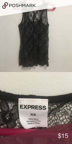 Express Lace Tank Top Express lace tank top. Worn a few times, no holes or fraying. XS, but fits more like a small.   🌸colors: black 🌸material: 100% nylon  🌸no trades Express Tops Tank Tops