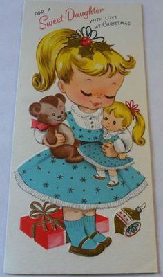 . Wood Christmas Tree, Christmas Crafts, Christmas Girls, Vintage Christmas Images, Vintage Cards, Holiday Cards, Joy, Happy Things, Artwork