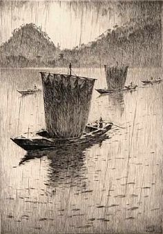 Fishing Boats In The Rain - Martin Lewis