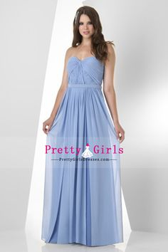 2015 Chiffon A Line Bridesmaid Dress Ruched Bodice Floor Length With Belt USD 123.99 PGDP5EZJ5QR - PrettyGirlsDresses.com