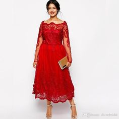 bf8abb4f16 Red Lace Boat Neck Plus Size Mother of The Bride Dress Long Sleeve Tea  Length Wedding Guest Party Gown Vestido Mae Da Noiva