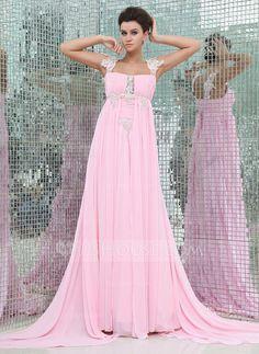Evening Dresses - $142.19 - Empire Watteau Train Chiffon Evening Dress With Ruffle Lace Beading (017017403) http://jjshouse.com/Empire-Watteau-Train-Chiffon-Evening-Dress-With-Ruffle-Lace-Beading-017017403-g17403?ver=xdegc7h0