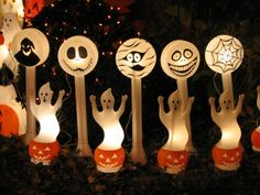 Turning random Christmas blowmolds into whimsical Halloween decorations.