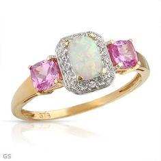 Anillo De Oro De 10k Con Diamantes, Zafirosy Opalo                              …