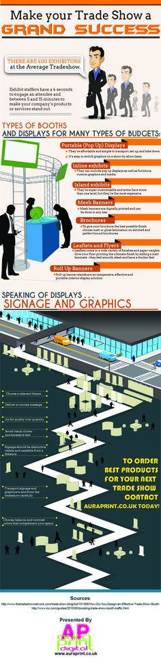 """Aura Print presents another infographic on """"Make your Trade Show – A Grand Success"""" that aims to target marketers who wish to make their booth s"""
