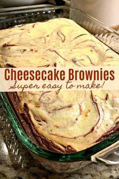 Easy Cheesecake Brownies (AKA, Marble Cream Cheese Brownies) – Desserts World Cheesecake Toppings, Cheesecake Brownies, Brownie Cake, Cheesecake Recipes, Fudgy Brownies, Cheesecake Bites, Tea Cakes, Köstliche Desserts, Dessert Recipes