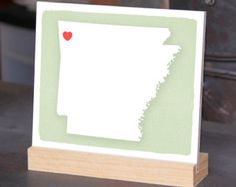 "ARKANSAS Desk display, Heart the spot, Office decor - 6""x 6"", Bookshelf display, Going Away gift for Family and Best friends BFF gift"