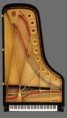 "Steinway concert grand piano... http://www.total-piano-care.com/Steinway-and-Sons.html And remember, it's not 9', but rather, just shy of 9' [8' 11 3/4""] ;) David Crombie in his book, Piano. The Model D uses 2.75 miles of wire, and the longest string is 79 1/4""."