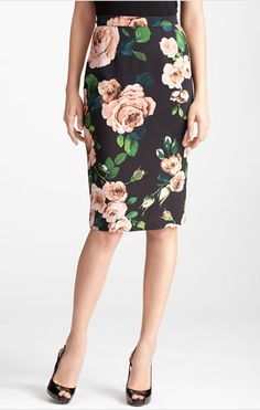 Dolce Rose Print Stretch Cady Skirt.