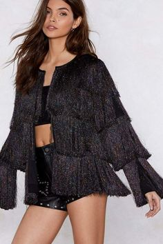 34597cda23 Nasty Gal Find Your Swing Fringe Jacket Black Jumpsuit Outfit Night