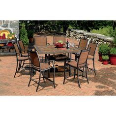 Imagine Yourself On An Island In The Mediterranean Sea This Gathering Height Dining Set Will Take You There 6 Sling Chairs Are Made From All W