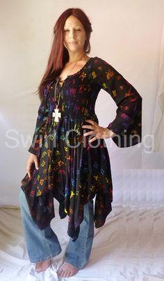 sexy boho clothing | SEXY LACE UP BOHO BATIK TOP SHIRT DRESS 12 14 16 18 Black Multi ...