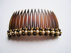 Swarovski Pearl Beaded Hair Comb - Brown and Ivory with Gold Accent - PERSEPHONE