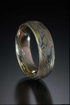 Acid-etched Mokume Gane ring by artist James Binnion.