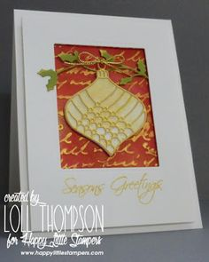 handmade Christmas card from Stamping with Loll ... golden die cut bauble ... framed look card ... elegantly delightful ...
