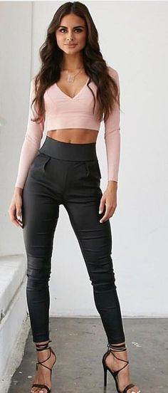 Pink Crop + Black Pants                                                                             Source