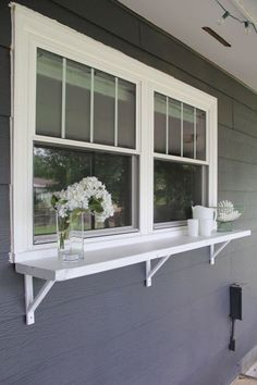 Kitchen window flower ledge or a DIY window ledge buffet for outdoor entertaining!:
