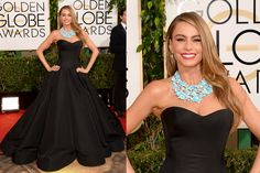 Pictures : Celebrity Red Carpet Style at the 2014 Golden Globe Awards - Sofia Vergara 2014 Golden Globe Awards. Love the Turquoise Statement Necklace.