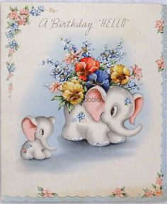 #988 40s Sweet Elephant Planter Holds Flowers, Vintage Greeting Card