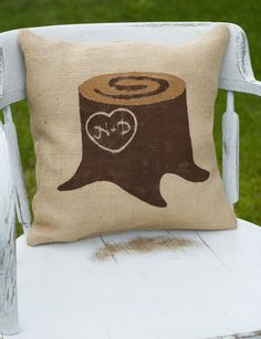 Customized initials, Giving Tree Trunk Pillow