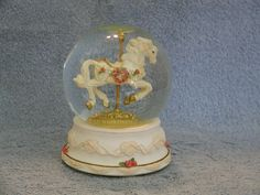 Musical Snow Globe  Carousel Horse  San by SashasCollectibles
