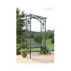 Metal Garden Arbor Trellis Bench Lanterns Patio Gazebo Yard Plants Wedding Decor | eBay