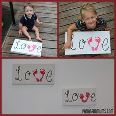 Very cute. All you need is a blank canvas, permanent marker, red pain and some cute little feet.